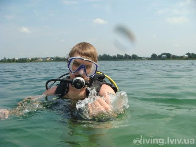 Всплытие после дайвинга на озере Задорожное