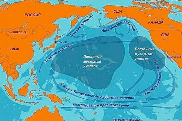 Мапа Великої тихоокеанської сміттєвої плями.