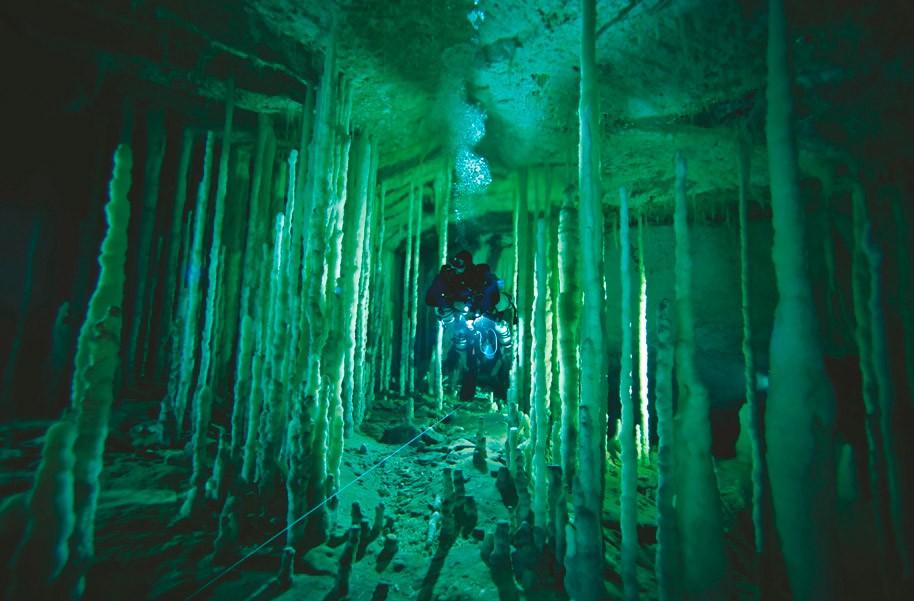 Аквалангіст пливе крізь частокіл сталагмітів в печері Дена на острові Великий Абак